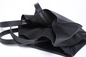 Image 5 - מעצב נשים תיק גדול קיבולת שחור קניות שקיות באיכות עור מפוצל נשים של גדול טוטס מזדמן נשי כתף שקיות bolsa