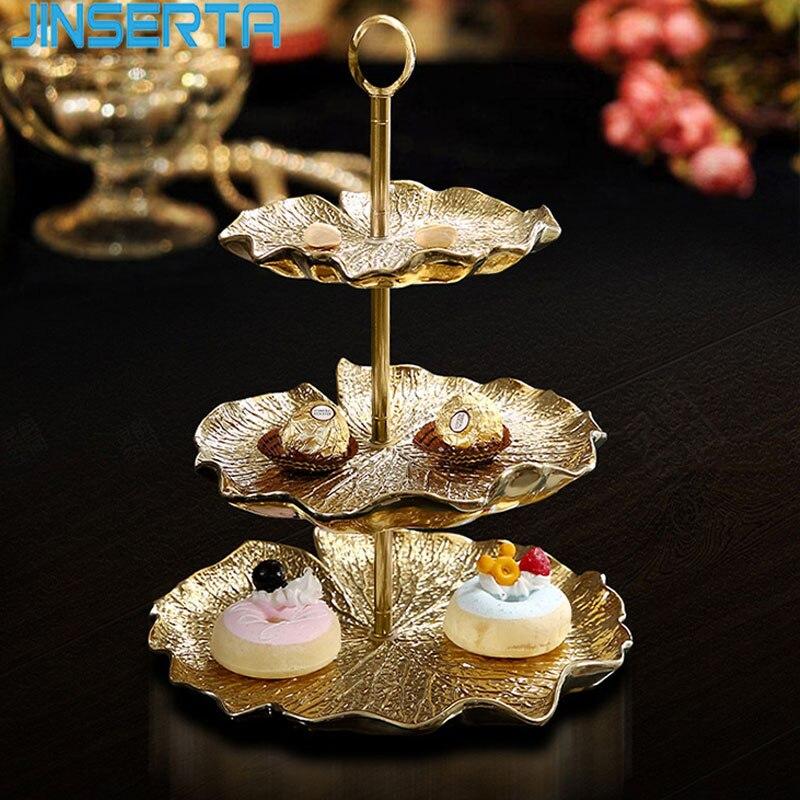 JINSERTA-plateau de rangement en céramique | 2 niveaux, assiette de collation fruits Dessert en or, assiette d'exposition bijoux, organisateur de cosmétiques, plateau de décoration pour la maison