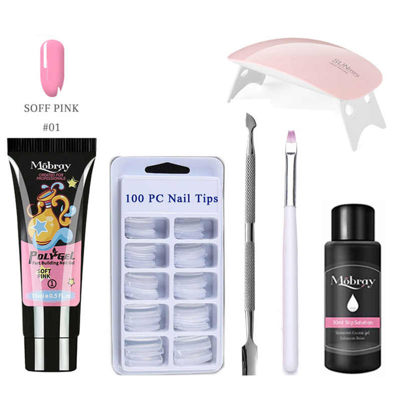 Drop Verzending Poly Gel Nail Kit Met Lamp Voor Gel Extension Uv Gel Nagellak Builder Gel Tips Poly Extension gel Kits Polygel