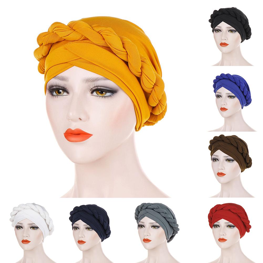 2019 Fashion Pure Color Braid Muslim Women Turban Hat Chemo Cap Headwrap Headwear Material: Milk Silk