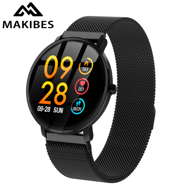 """Makibes F3 1.3""""Full Touch Tempered Glass Screen Smart Watch Waterproof Blood oxygen Fitness Tracker Milanese magnetic wristband"""