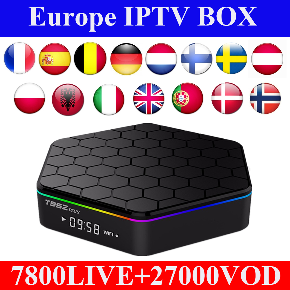 Android tv box t95z plus amlogic s912 + 1 anno Europa Spagna Francese Svezia Olandese Polonia germania Abbonamento iptv intelligente ip tv box-in Set box TV da Elettronica di consumo su AliExpress - 11.11_Doppio 11Giorno dei single 1