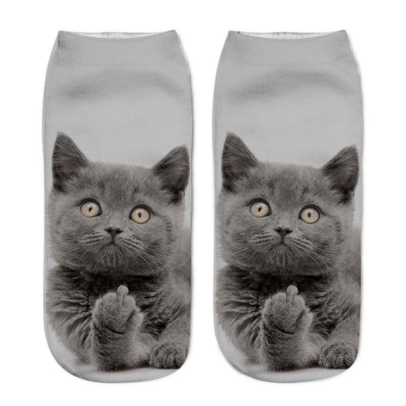 Women's Funny Animal Cute 3D Print Socks Women Ankle Socks Unisex Men Socks Hot Women Fashion Sox Cartoon Cat For Female Soft