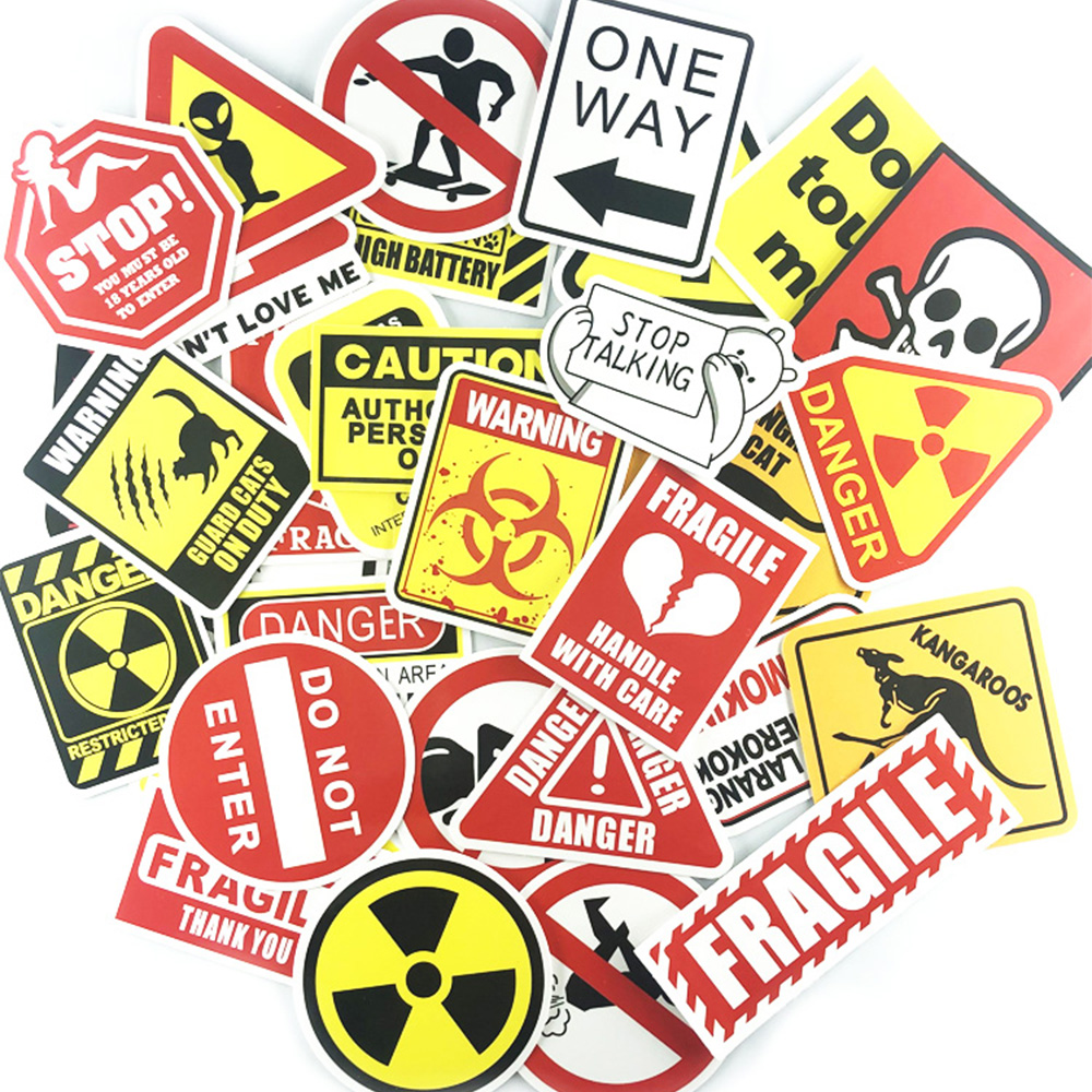 Caution Warning Sticker Set Funny Fragile Stickers For DIY Motorcycle Laptop Decoration 50pcs / Set