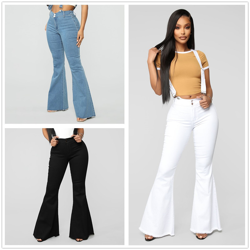 European and American women denim fashion belt trousers new jeans for Europe station slim ladies bell trousers.