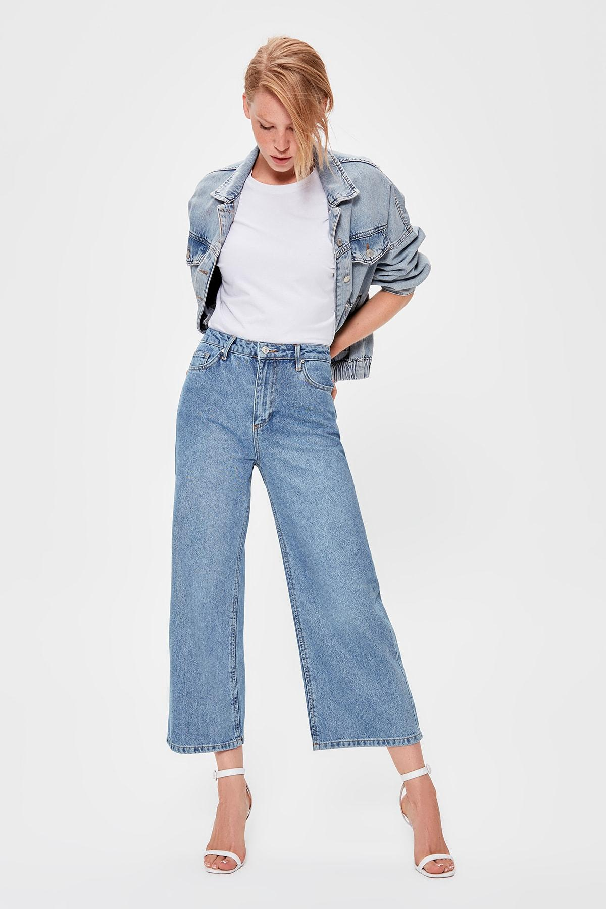 Trendyol Blue High Waist Culotte Jeans TWOAW20JE0178