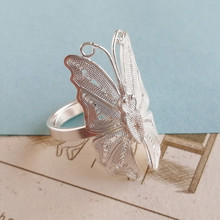Butterfly Big Boho 999 Sterling Silver Rings For Women Adjustable Ring Engagement Handmade Ethnic Luxury Jewelry Korean Fashion