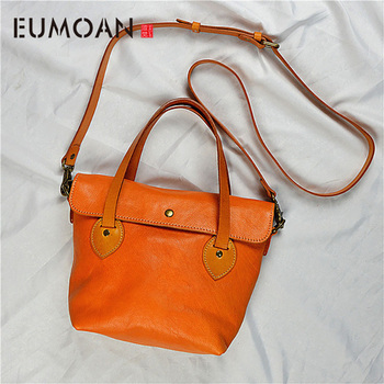 EUMOAN New first layer cowhide handbag leather handbag vegetable tanned leather bag retro Messenger bag