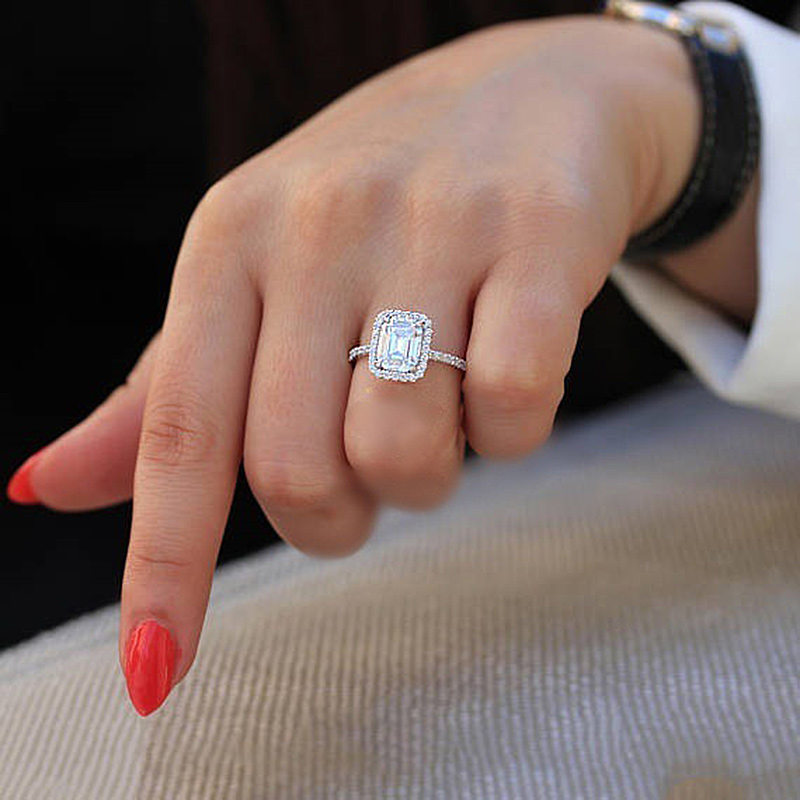 USTAR 3 5ct Square Cubic Zirconia Engagement Rings for women Shiny CZ Crystals Silver wedding Rings Female Bijoux Bague Anel in Wedding Bands from Jewelry Accessories