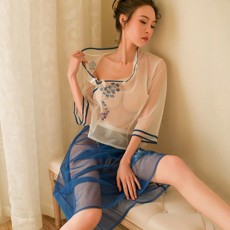 Şeffaf sıcak seksi parti kostüm Tang Hanfu çin antik giyim peri prenses pijama Babydoll Lingerie kıyafeti seti