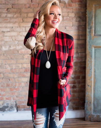 Women's Autumn Buffalo Red Plaid Cardigans Long Sleeve Elbow Patch Draped Open Front Shirt Blouse