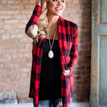 Women's Autumn Buffalo Red Plaid Cardigans Long Sleeve Elbow Patch Draped Open Front Shirt