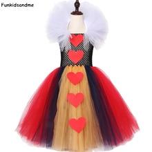 Kraliçe Hearts Tutu elbise kız çocuklar cadılar bayramı karnaval elbise kırmızı ve siyah beyaz kraliçe Alice Cosplay kostüm kızlar parti elbise