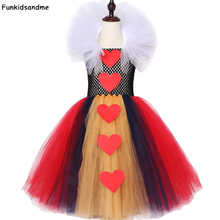 Rainha dos corações tutu vestido menina crianças halloween carnaval vestido vermelho e preto branco rainha alice cosplay traje meninas vestido de festa