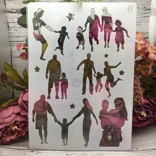4Pcs/Set A4 Family Lover Children Parent DIY Layering Stencils Painting Scrapbook Coloring Embossing Album Decorative Template 2