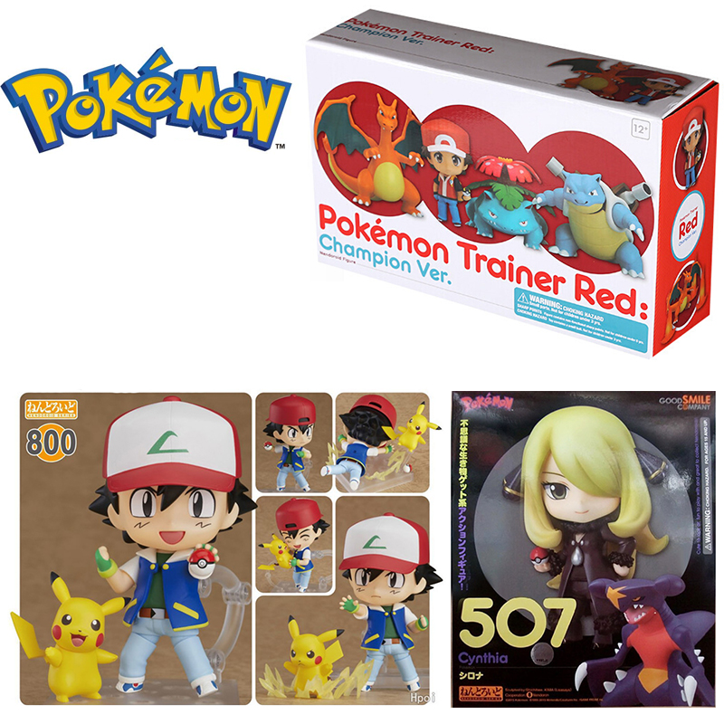 Pokemon Nendoroid 800 612 507 537 Satoshi & Pikachu Pokemones Trainer Red Original Figures Model Toys For Child Gifts With Box