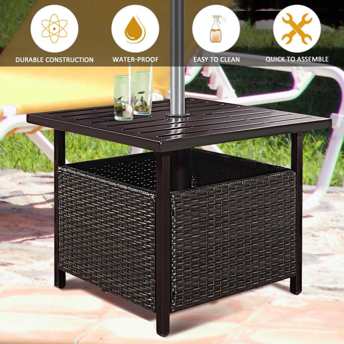 Details about  /Brown Ratan Wicker Steel Side Table Outdoor Umbrella Hole Deck Garden Patio Pool