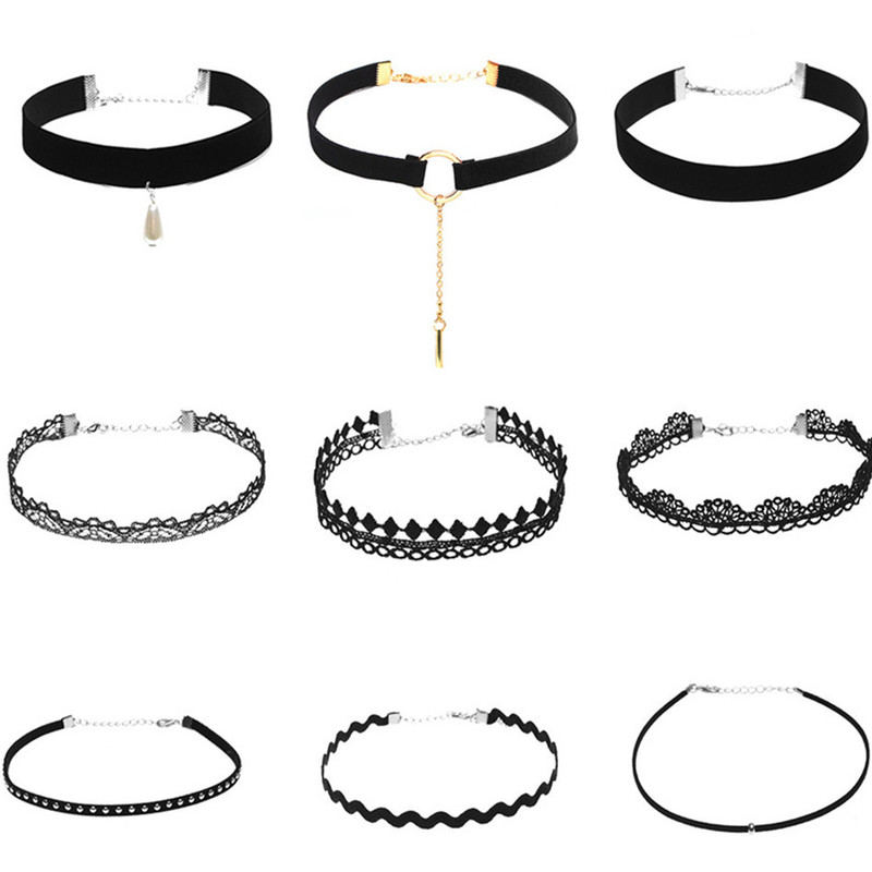 Wasteheart New Women Fashion Black Choker Jewelry Necklaces Pink Torques Lace Sexy Halter 9 Pcs Solid