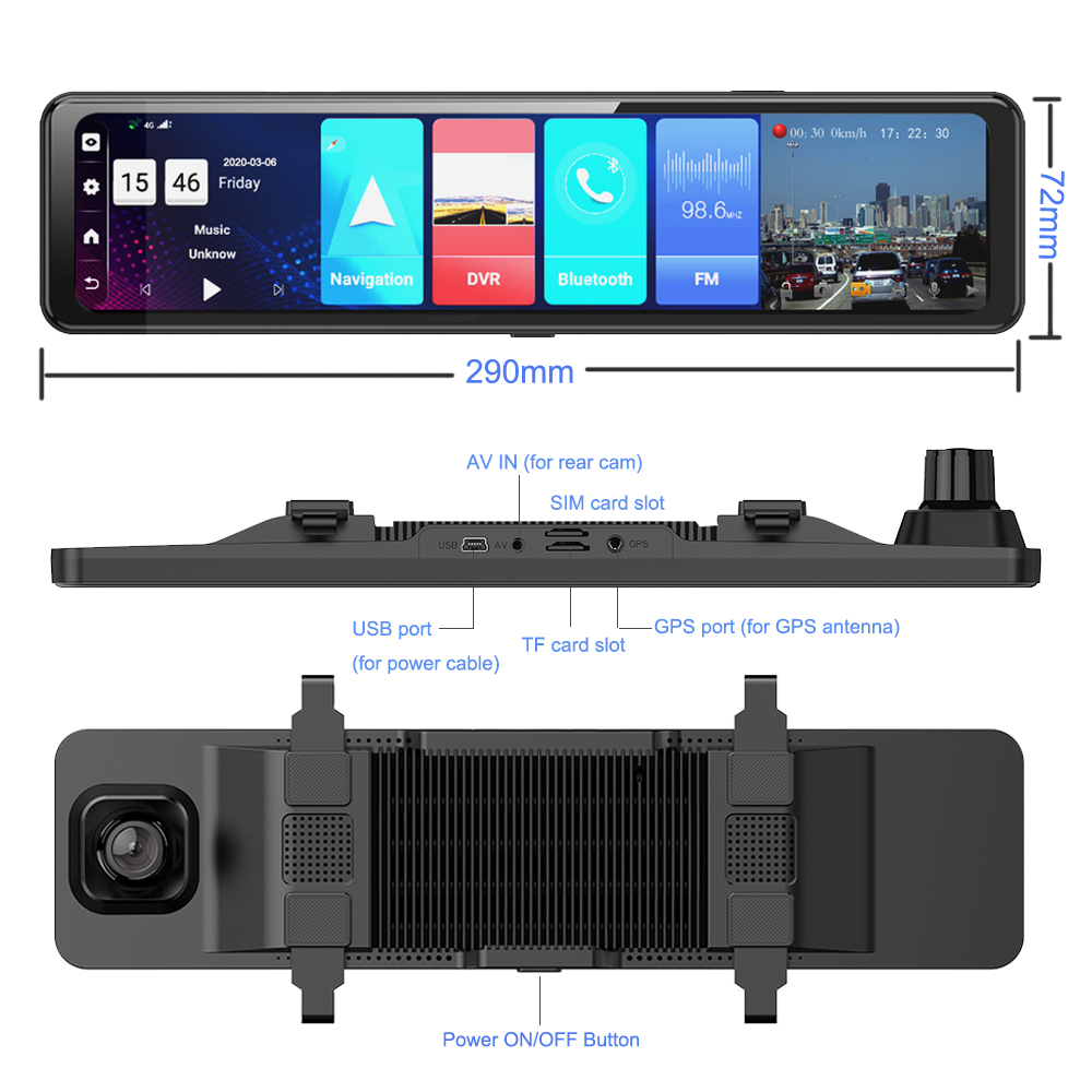 "Phisung 3 Split Screen 12""4G Android 8.1 Car Rearview Mirror Camera 2+32G dual dvr ADAS WiFi BT 4.0 Dash Cam dvrs video recorder 6"