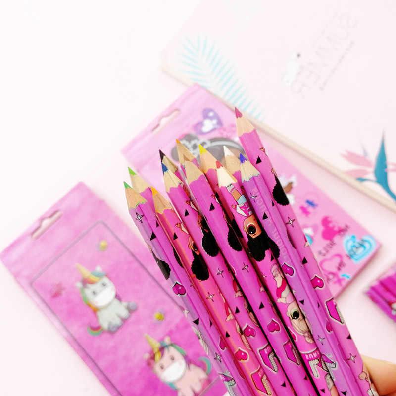 Nova 12 pçs/set LOL Unicórnio Menina Lápis Colorido Embalagem 12 Diferentes Kawaii Escola Lápis De Madeira Lápis de Cor Preta