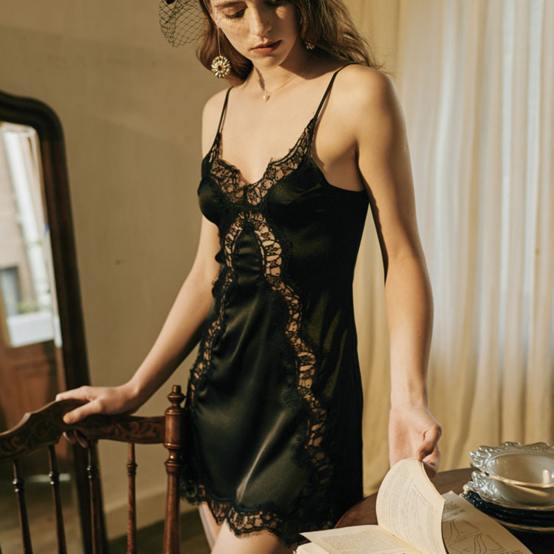 Sexy Pajamas Lace Lingerie Pajamas Hollow Out Women Dress Temptation V-neck Night Underwear Sling Sleep Robes Transparent Mesh