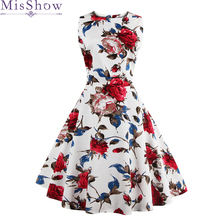 In Stock Fast Shipping Cheap Fashion Women Floral Dress 2019 Vintage Casual Elegant Print Party White Plus size 3XL 4XL