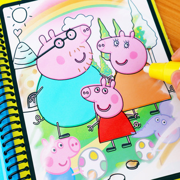 Peppa Pig Magic Water Drawing Book Montessori Coloring Book Doodle Magic & Pen Painting Drawing Board for Kids Toy Birthday Gift peppa pig the wheels on the bus board book