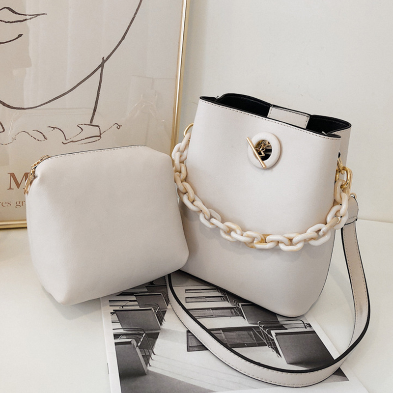 Acrylic Chain Composite Bucket Bags For Women 2020 Luxury Pu Leather Lady Shoulder Messenger Bag Casual Female Travel Handbags
