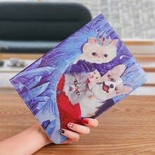 Case For Apple ipad 2 3 4 9.7 inch PU Leather Tiger Cartoon illustration Case For ipad 4 3 2 Fashion stand smart cover все цены