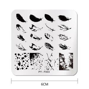 Image 4 - PICT אתה כיכר נייל Stamping עודף עותקים נוצת דפוסים נירוסטה הדפסת חותמת נייל אמנות עיצוב סטנסיל כלים F003