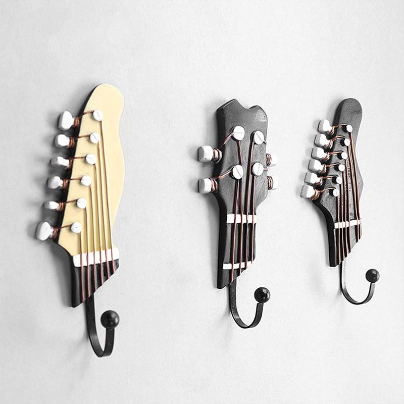 3 Pcs/ Set Of Multifunctional Retro Guitar Head Household Hook Resin Coat Rack Durable Wall-Mounted Wallet Rack