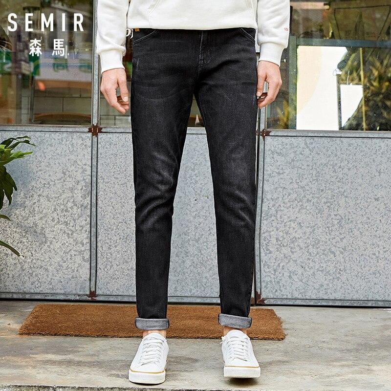 Semir Black jeans men tide brand new fit straight leg pants youth stretch comfortable slim pants