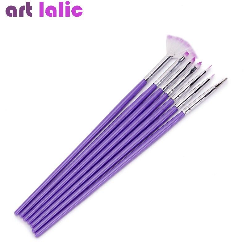 7 шт., фиолетовая для украшения ногтей, набор кистей для раскрашивания ногтей