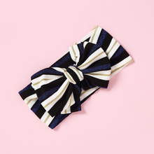 Stripped Nylon Headbands Knot Bow Head Wraps Girls Hair Accessories Wide Stretch Elastic Turban Headband bands