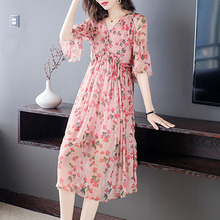 Women's 2021 Summer New Style Casual Fashion Temperament French Floral Skirt Double Drawstring High-End Silk Dress