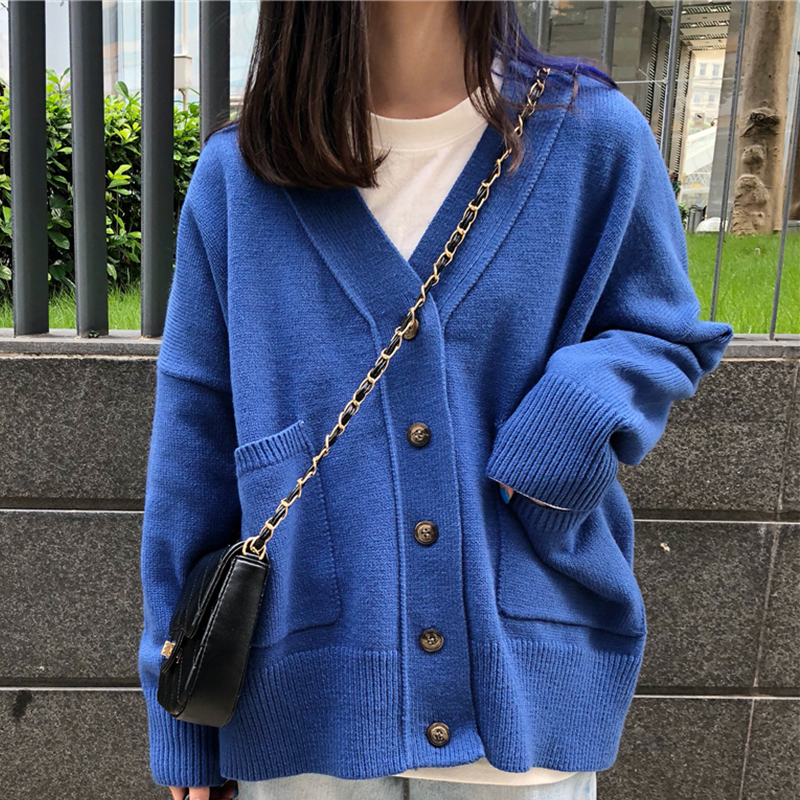 PEONFLY Korean Style Sweater Coat Solid Color Knitted Cardigan Pink Blue Loose Autumn 2019 Femme Single Breasted Sweater