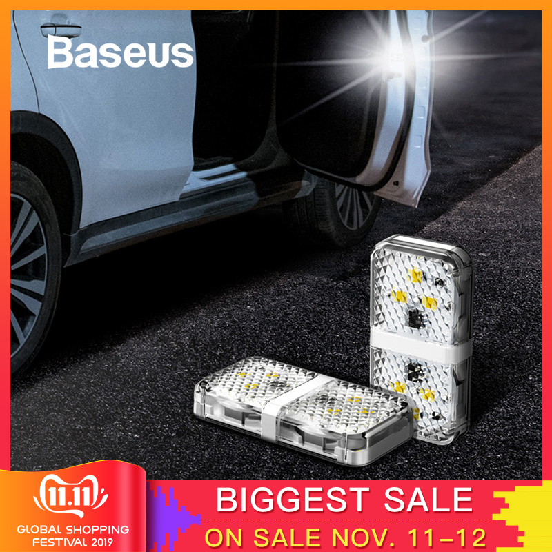 Baseus 2pcs 6 LEDs Car Openning Door Warning Light Safety Anti collision Flash Lights Wireless Magnetic Alarm Signal Lamp-in Decorative Lamp from Automobiles & Motorcycles