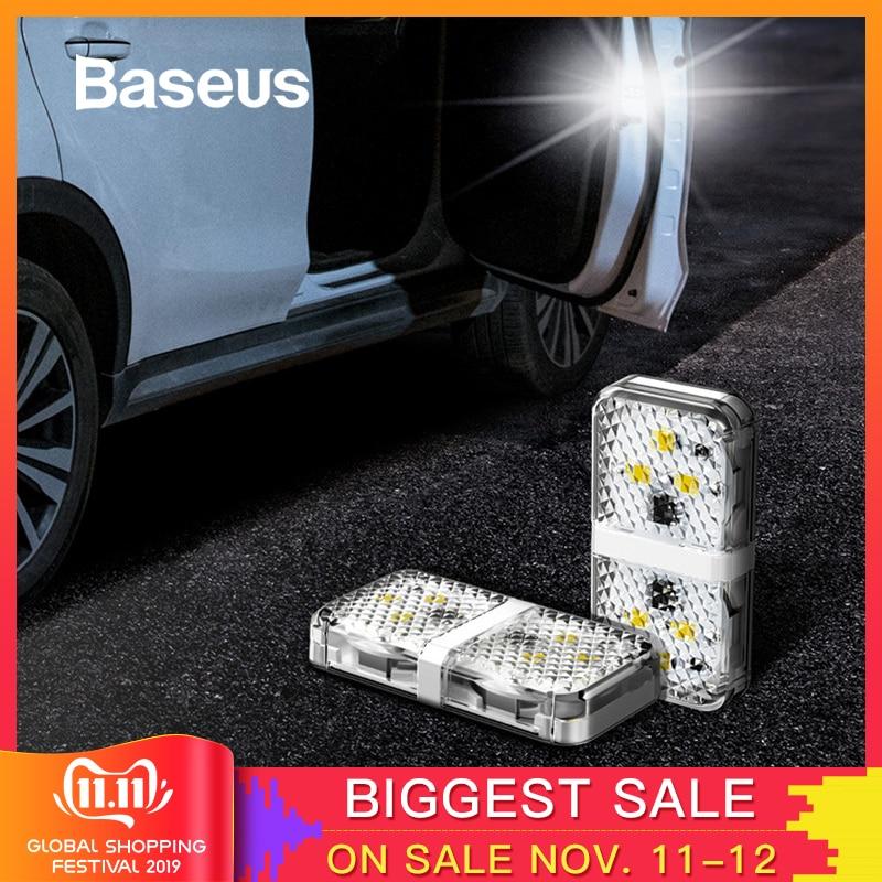 Baseus 2pcs 6 LEDs Car Openning Door Warning Light Safety Anti-collision Flash Lights Wireless Magnetic Alarm Signal Lamp