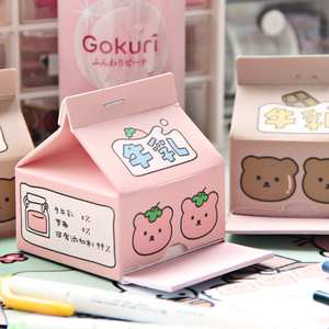 Kawaii stationery ins cute strawberry milk box note paper creative drawing memo note paper hand account material paper