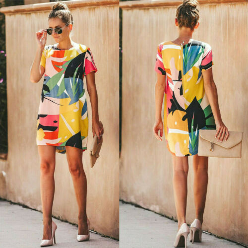 Women Summer Colourful  Plus Size  Short Sleeve Casual Party Dress