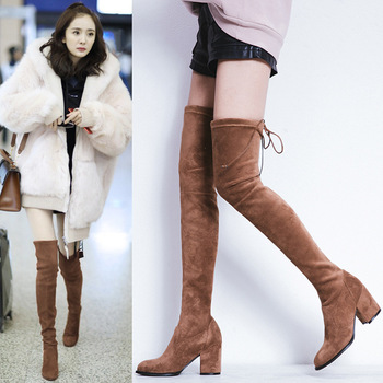 Genuine Leather Elastic Force Overknee Boots 2019 Coarse High With