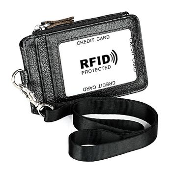Portable Genuine Leather RFID Blocking Business ID Card Credit Holder Lanyard Wallet