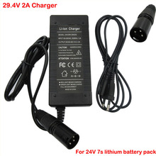 29.4v 2a li íon carregador de bateria 24v 2a 7s carregador de lítio para 24v 10ah 20ah li ion ebike bicicleta elétrica bateria