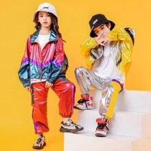 Hip Hop Kostuum Hiphop Kids Street Dance Kleding Lange Sleev Heldere Jas Broek Podium Outfits Jazz Dragen Meisje Set Jongen kleding