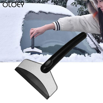 Samochód ze stali nierdzewnej łopata do śniegu wielofunkcyjny odszranianie skrobak do śniegu narzędzie w zimie skrobanie lodu szkło usuwanie śniegu tanie i dobre opinie OLOEY 0 06kg 11cm 18cm ABS + Stainless steel 18 5cm