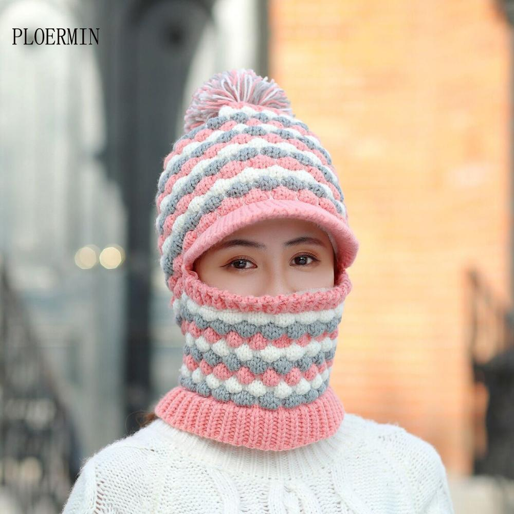 Female Warm Beanie Hat Riding Snow Caps Winter Women Knitted Hat Scarf Set Girl Hairball Pompom Fashion Wool Thickening Hat