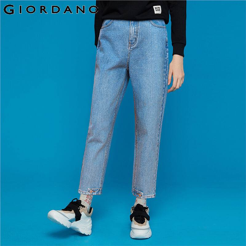 Giordano Women Jeans High-rise Straight Ankle-length Denim Jeans Solid Button Closure Zip Fly Soft Jeans Mujer 05429314