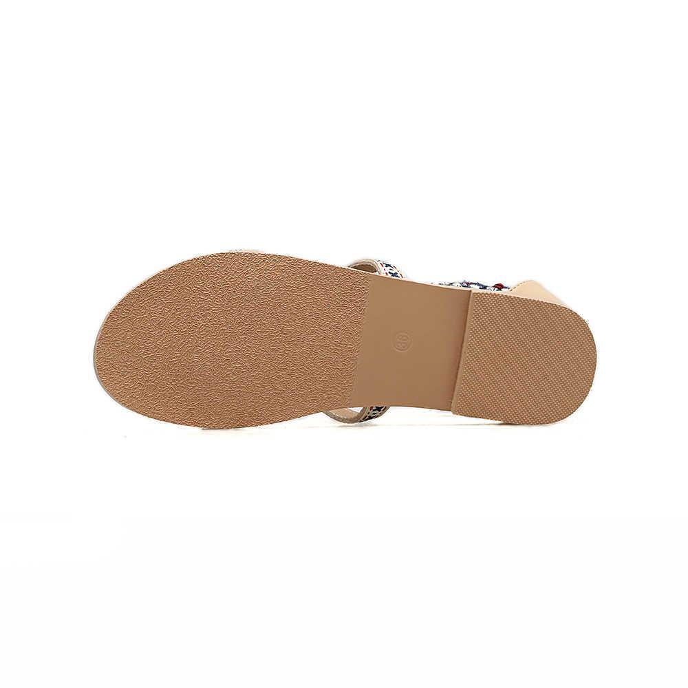 Bohême style ethnique dame été à la main Sandalias string gland sandales broder frange talon plat romain gladiateur chaussures de plage