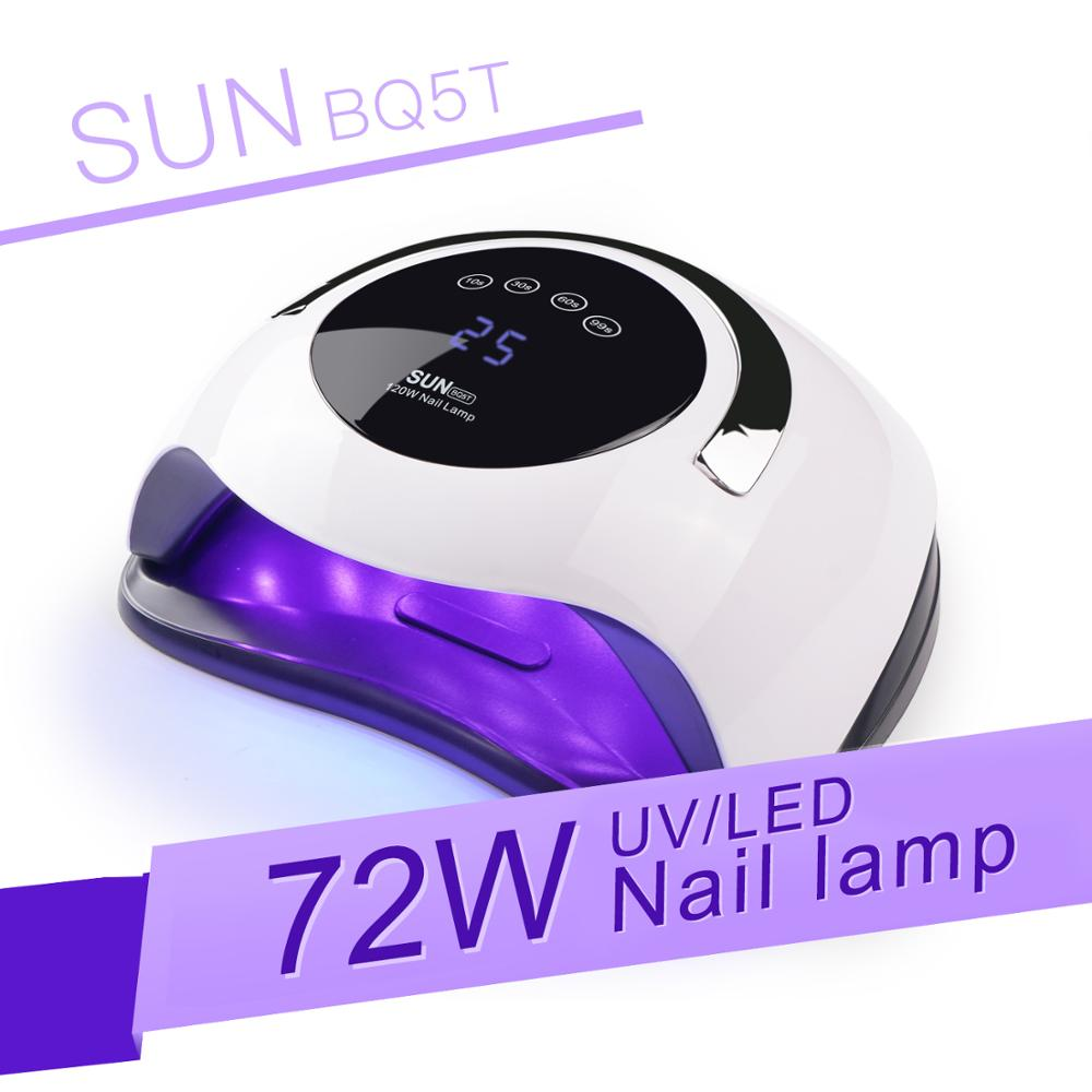 SUN BQ5T 72W <font><b>UV</b></font> <font><b>LED</b></font> Lamp Nail Dryer Manchine LCD Display <font><b>LED</b></font> Dryer Nail Lamps Curing Gel Polish Auto Sensing Lamp For Nails New image