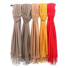 Новые женские шифоновые накидки с цветочным принтом и кружевами хиджаб шарф шали с кисточками шарфы с подвесками мусульманских Шелковый платок 180*75 см